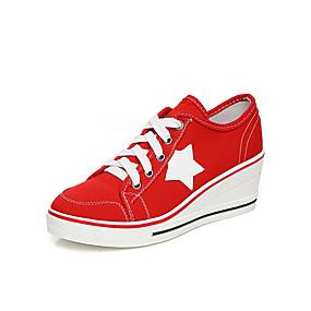 voordelige Damessneakers-Dames Sneakers Sexy Schoenen Sleehak Ronde Teen Kanten stiksel Canvas Informeel / minimalisme Lente zomer Rood / Blauw / Roze