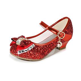 povoljno Dječje cipele-Djevojčice Sintetika Cipele na petu Djeca Obuća za male djeveruše Mašnica / Šljokice Crvena / Plava / Pink Ljeto / Zabava i večer