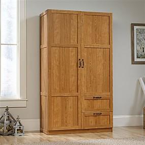 cheap Bedroom Furniture-Bedroom Wardrobe Cabinet Storage Closet Organizer in Medium Oak Finish