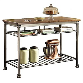 cheap Kitchen & Dining Furniture-Classic French Style Hardwood Butcher Block Top Metal Kitchen Utility Table