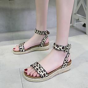 voordelige Damesschoenen met platte hak-Dames Platte schoenen Lage hak Open teen Gesp PU Informeel / minimalisme Lente zomer Zwart / Luipaard / Oranje