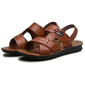 baratos Sandálias Masculinas-Homens Sapatos Confortáveis Pele Outono / Primavera Verão Vintage / Casual Sandálias Respirável Preto / Café / Marron