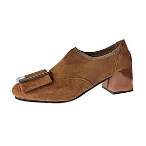 voordelige Damesinstappers & loafers-Dames Loafers & Slip-Ons Blokhak Polyester Zomer Zwart / Lichtbruin