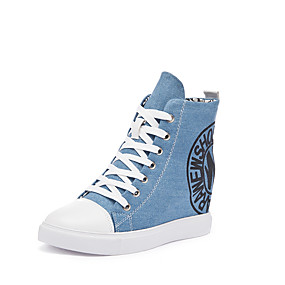 voordelige Damessneakers-Dames Sneakers Sexy Schoenen Sleehak Ronde Teen Canvas Informeel / minimalisme Lente zomer Zwart / Lichtblauw / leuze