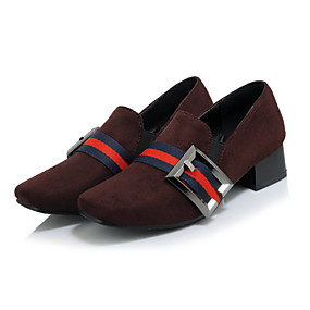 voordelige Damesinstappers & loafers-Dames Suède Lente & Herfst Zoet Loafers & Slip-Ons Blokhak Vierkante Teen Zwart / Bruin