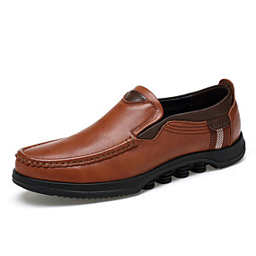 cheap Men's Shoes-Men's Leather Shoes Nappa Leather Spring & Summer / Fall & Winter Business / Casual Loafers & Slip-Ons Walking Shoes Non-slipping Black / Brown