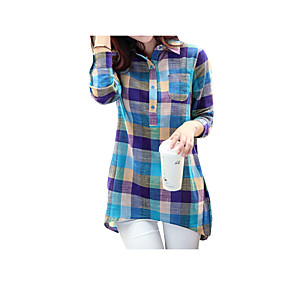 billige Salg-Løstsittende Skjortekrage T-skjorte Dame - Ruter Blå / Vår / Høst