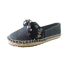 voordelige Damesinstappers & loafers-Dames Loafers & Slip-Ons Strik Platte hak Ronde Teen Strik Linnen Zoet Herfst / Lente zomer Donkerblauw