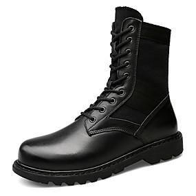 baratos Botas Masculinas-Homens Fashion Boots Couro Ecológico Outono & inverno Clássico / Casual Botas Caminhada Não escorregar Botas Cano Médio Preto / Ao ar livre / Escritório e Carreira / Coturnos