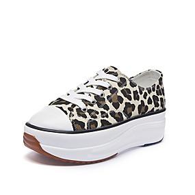 voordelige Damessneakers-Dames Sneakers Comfort schoenen Creepers Ronde Teen Kanten stiksel Canvas Informeel / minimalisme Wandelen Lente zomer Roze / Lichtblauw / Luipaard / Gestreept