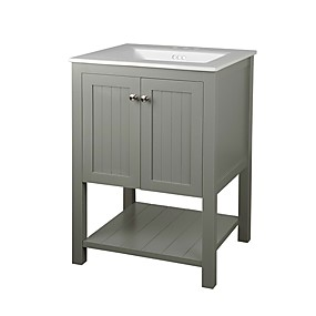 cheap Bathroom Furniture-Grey 24 x 22 inch Bathroom Vanity Cabinet with White Ceramic Sink