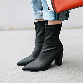 billige Mote Boots-Dame Støvler Sateng Sommer / Høst vinter Klassisk / minimalisme Støvler Tykk hæl Spisstå Støvletter Svart / Rød / Blå / Fest / aften