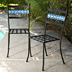 cheap Furniture-Set of 2 - Black Powder Coated Iron Metal Patio Bistro Chairs with Aqua Blue Backrest