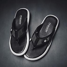 baratos Sandálias e Chinelos Masculinos-Homens Sapatos Confortáveis Couro Ecológico Verão Chinelos e flip-flops Preto / Branco / Vermelho