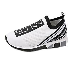 baratos Caminhada-Mulheres Tênis Sem Salto Tissage Volant Caminhada Verão Branco / Preto