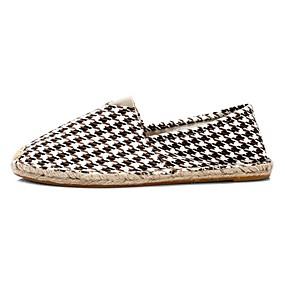 voordelige Damesschoenen met platte hak-Dames Platte schoenen Platte hak Ronde Teen Canvas Zomer Zwart / Grijs