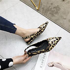 voordelige Damesschoenen met platte hak-Dames Platte schoenen Platte hak PU Lente zomer Zwart / Luipaard