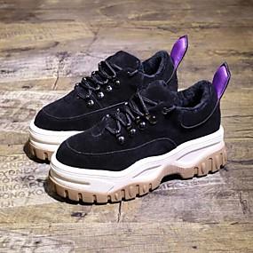 baratos Sapatos Esportivos Femininos-Mulheres Tênis Creepers Pele Corrida Inverno Preto / Leopardo / Castanho Escuro
