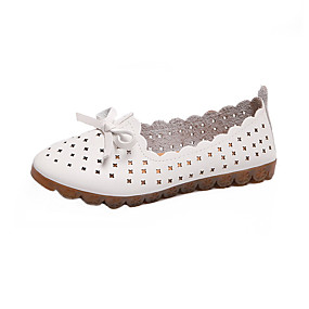 voordelige Damesschoenen met platte hak-Dames Platte schoenen Platte hak Ronde Teen Strik PVC Informeel Zomer Wit / Roze