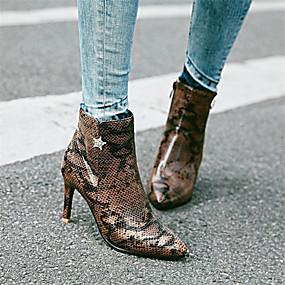 billige Mote Boots-Dame Støvler Stiletthæl Spisstå Rhinsten PU Ankelstøvler Høst vinter Sølv / Rosa / Brun / Fest / aften