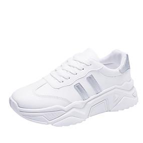 baratos Sapatos Esportivos Femininos-Mulheres Tênis Salto Baixo Ponta Redonda Couro Sintético Minimalismo Corrida Primavera & Outono Preto / Prata