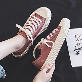 voordelige Damesschoenen met platte hak-Dames Platte schoenen Platte hak Ronde Teen Canvas Informeel Zomer Zwart / Wit / Fuchsia