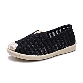 voordelige Damesinstappers & loafers-Dames Loafers & Slip-Ons Platte hak Ronde Teen Suède / Canvas Vintage Zomer Wit / Zwart / Kleurenblok