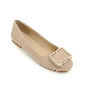 voordelige Damesschoenen met platte hak-Dames Platte schoenen Comfort schoenen Platte hak Vierkante Teen Strass Suède Zoet Zomer / Herfst Beige / Geel / Roze