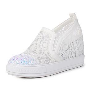 voordelige Damesinstappers & loafers-Dames Loafers & Slip-Ons Sleehak Ronde Teen PU Zoet / minimalisme Zomer Wit / Zwart / Roze