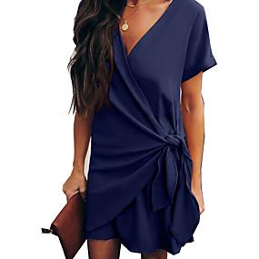 billige Wrap Dress-Dame Elegant Chiffon Kjole - Ensfarget, Lapper Ovenfor knéet