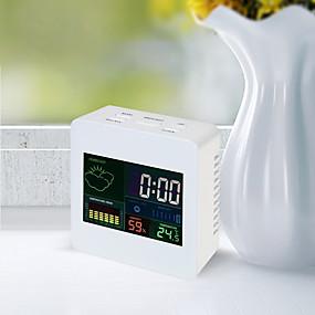 voordelige Super Korting-ts-s61 kleurenscherm klok binnentemperatuur en hygrometer klok met kalender / alarmfunctie 12/24 uur desktop klok