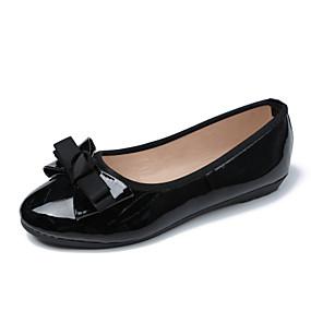 voordelige Damesschoenen met platte hak-Dames Platte schoenen Platte hak Strik PU Zoet / minimalisme Lente zomer / Herfst winter Rood / Zwart / Roze / Feesten & Uitgaan