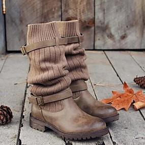 voordelige Damesinstappers & loafers-Dames Loafers & Slip-Ons Blok hiel Ronde Teen PU Kuitlaarzen Winter Zwart / Grijs / Khaki
