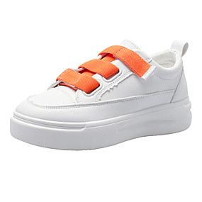 voordelige Damessneakers-Dames Sneakers Platte hak Ronde Teen PU Lente & Herfst Wit / Oranje / Geel