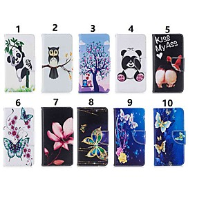 preiswerte Neu Eingetroffen-Hülle Für Samsung Galaxy Note 9 / Note 8 Geldbeutel / Kreditkartenfächer / mit Halterung Ganzkörper-Gehäuse Schmetterling / Panda / Blume Hart PU-Leder für Note 9 / Note 8