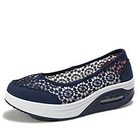 voordelige Damessneakers-Dames Sneakers Speciale hak Ronde Teen Kant Zoet Lente zomer Zwart / Licht Grijs / Rood