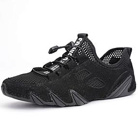 baratos Tênis Masculino-Homens Sapatos de Condução Pele Napa / Com Transparência Verão Negócio / Casual Tênis Aventura / Caminhada Respirável Preto / Cinzento