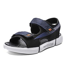 baratos Sandálias Masculinas-Homens Sapatos Confortáveis Lona Verão Sandálias Respirável Preto / Azul / Cinzento