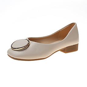 voordelige Damesschoenen met platte hak-Dames Platte schoenen Blokhak PU Zomer Zwart / Beige / Groen