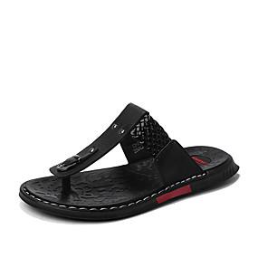 baratos Sandálias e Chinelos Masculinos-Homens Sapatos Confortáveis Pele Napa Verão Chinelos e flip-flops Caminhada Respirável Preto / Castanho Escuro / Branco