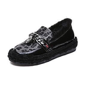 voordelige Damesschoenen met platte hak-Dames Platte schoenen Platte hak Ronde Teen Imitatieparel Suède / Imitatiebont Informeel / Zoet Herfst winter Zwart / Grijs / Bruin / Feesten & Uitgaan