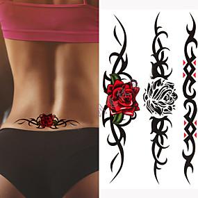 Недорогие Временные татуировки-3 шт. Раненых одинокий волк водонепроницаемый временные татуировки мужчины грустные животные временные татуировки татуировки розы поддельные татуировки рукав татуировки наклейки