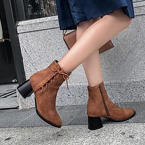 billige Mote Boots-Dame Støvler Tykk hæl Spisstå PU Ankelstøvler Britisk Høst vinter Brun / Grå