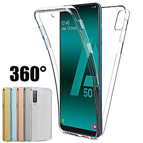 billige Telefonetuier-360 graders veske til Samsung Galaxy A70 a50 a40 a30 a20 a10 a9 2018 a7 2018 a8 plua 2018 a8 2018 a6 pluss 2018 a6 2018 silikondeksel 2 i 1 front bak myk tpu sak