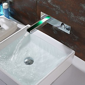 cheap New Arrivals-Bathroom Sink Faucet - Waterfall / LED Chrome Wall Mounted Single Handle Two HolesBath Taps