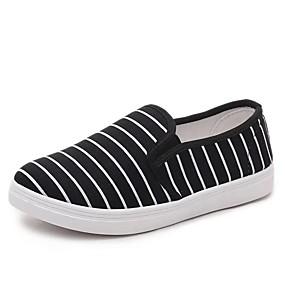voordelige Damesinstappers & loafers-Dames Loafers & Slip-Ons Platte hak Ronde Teen Canvas Klassiek / minimalisme Zomer / Lente zomer Wit / Zwart / Blauw / Gestreept