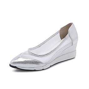 voordelige Damesinstappers & loafers-Dames Loafers & Slip-Ons Sleehak Gepuntte Teen Netstof / PU minimalisme Lente zomer / Herfst winter Goud / Zilver / Roze
