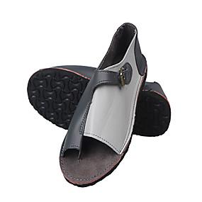 voordelige Damesschoenen met platte hak-Unisex Platte schoenen Platte hak Open teen PU Informeel Lente zomer Licht Grijs / Groen / Rood / Kleurenblok