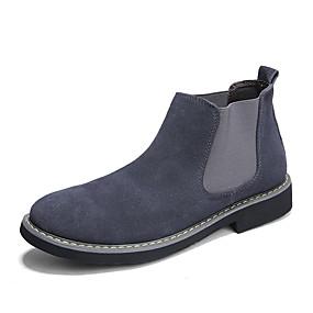 baratos Botas Masculinas-Homens Sapatos Confortáveis Camurça Outono & inverno Clássico / Formais Botas Caminhada Manter Quente Botas Cano Médio Preto / Azul / Cinzento
