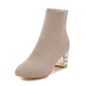 billige Mote Boots-Dame Støvler Formell Sko Tykk hæl Rund Tå PU Ankelstøvler Britisk / minimalisme Høst vinter Beige / Fuksia / Blå / Fest / aften